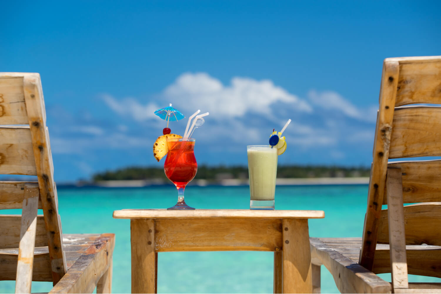 Pictures of cocktails at a luxury Bahamas villa.
