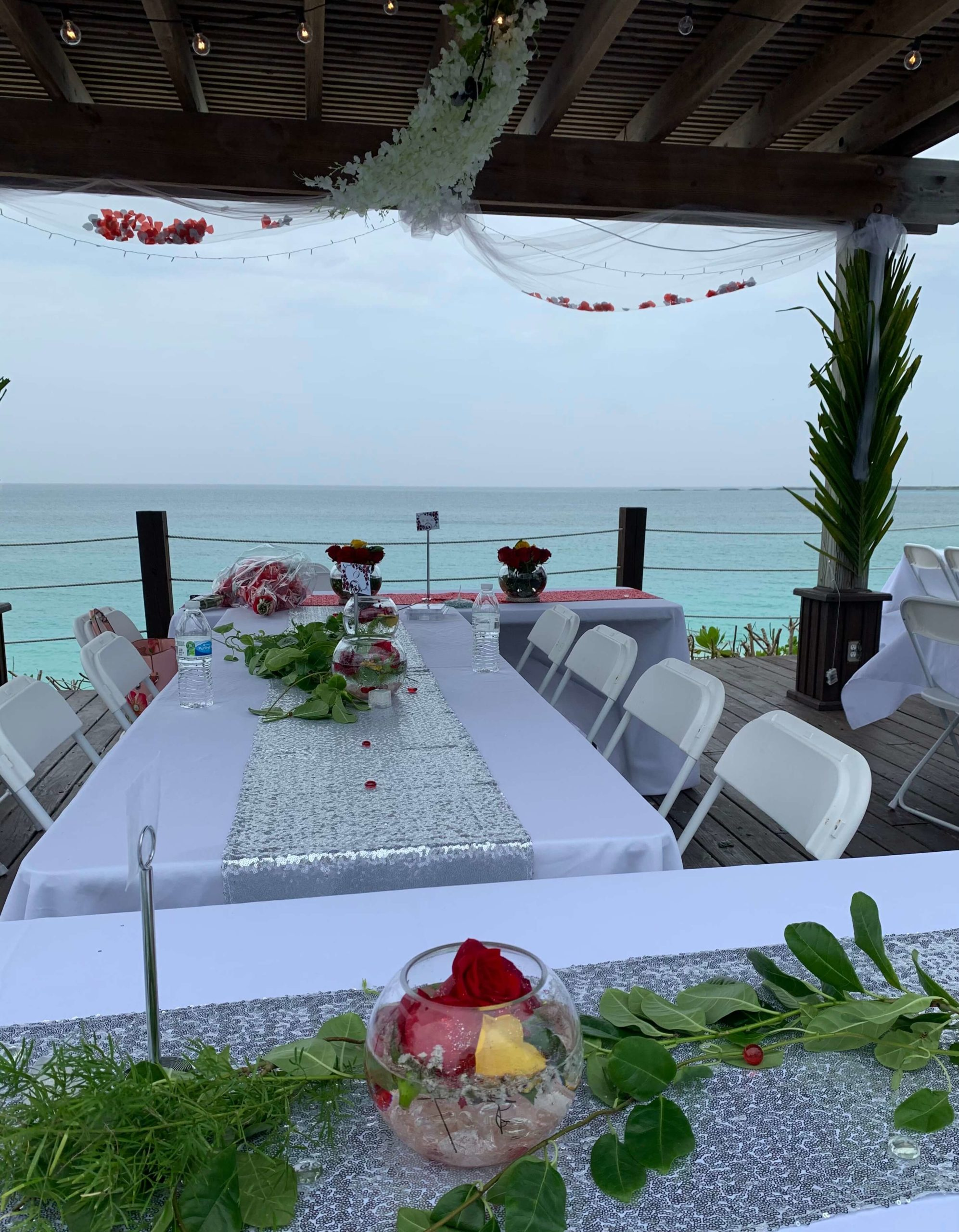 An image of a wedding set up at one of the best party venues in Nassau, Bahamas