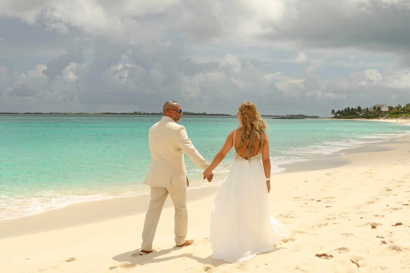 A photo of a couple celebrating their wedding at one of the top party venues in Nassau, Bahamas.